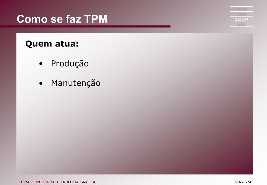 Como se faz TPM Quem atua: Produção Manutenção CURSO SUPERIOR DE TECNOLOGIA GRÁFICASENAI - SP