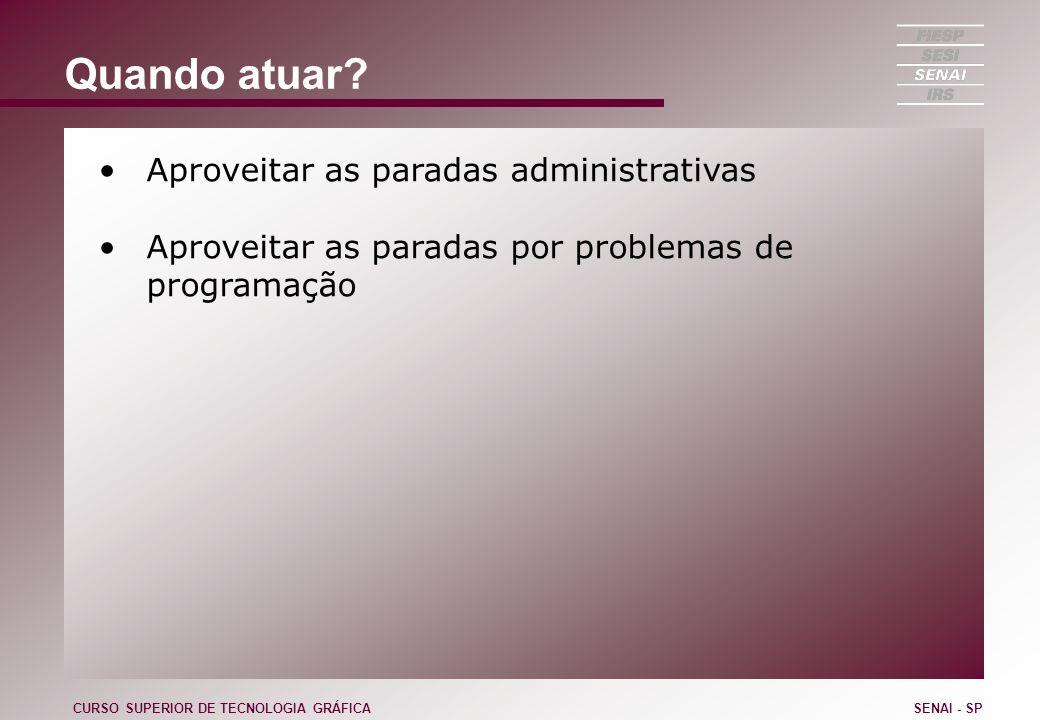 Quando atuar? Aproveitar as paradas administrativas Aproveitar as paradas por problemas de programação CURSO SUPERIOR DE TECNOLOGIA GRÁFICASENAI - SP