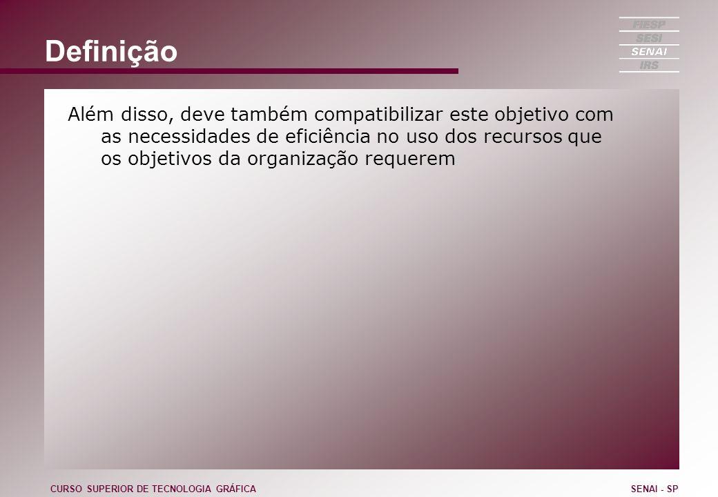 Definição Além disso, deve também compatibilizar este objetivo com as necessidades de eficiência no uso dos recursos que os objetivos da organização requerem CURSO SUPERIOR DE TECNOLOGIA GRÁFICASENAI - SP