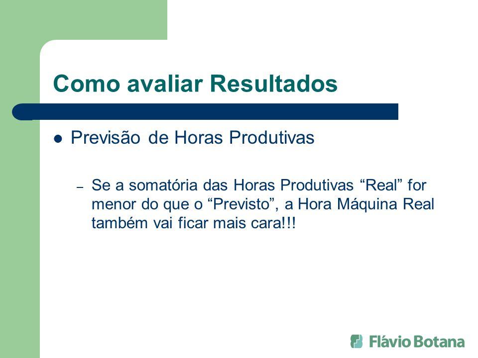 Como avaliar Resultados Previsão de Horas Produtivas – Se a somatória das Horas Produtivas Real for menor do que o Previsto, a Hora Máquina Real també