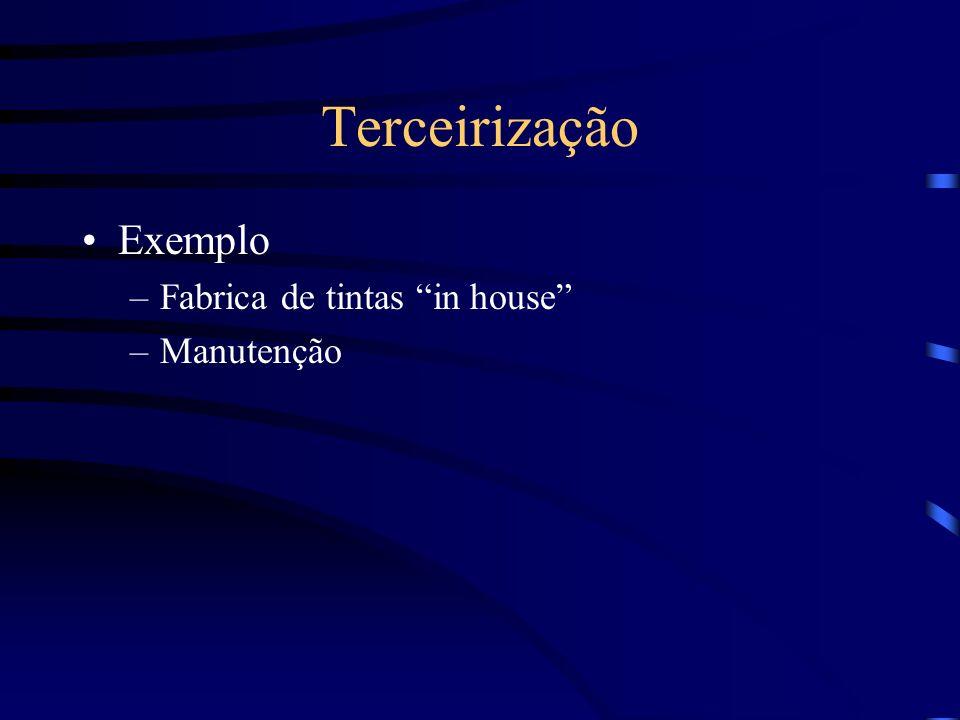 Terceirização Exemplo –Fabrica de tintas in house –Manutenção
