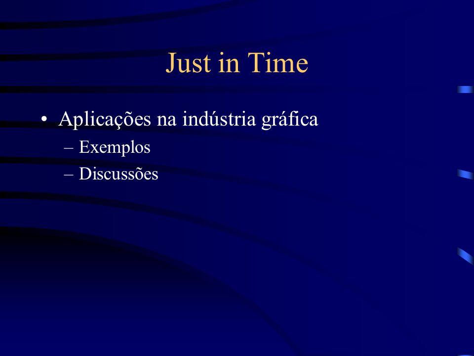 Just in Time Aplicações na indústria gráfica –Exemplos –Discussões