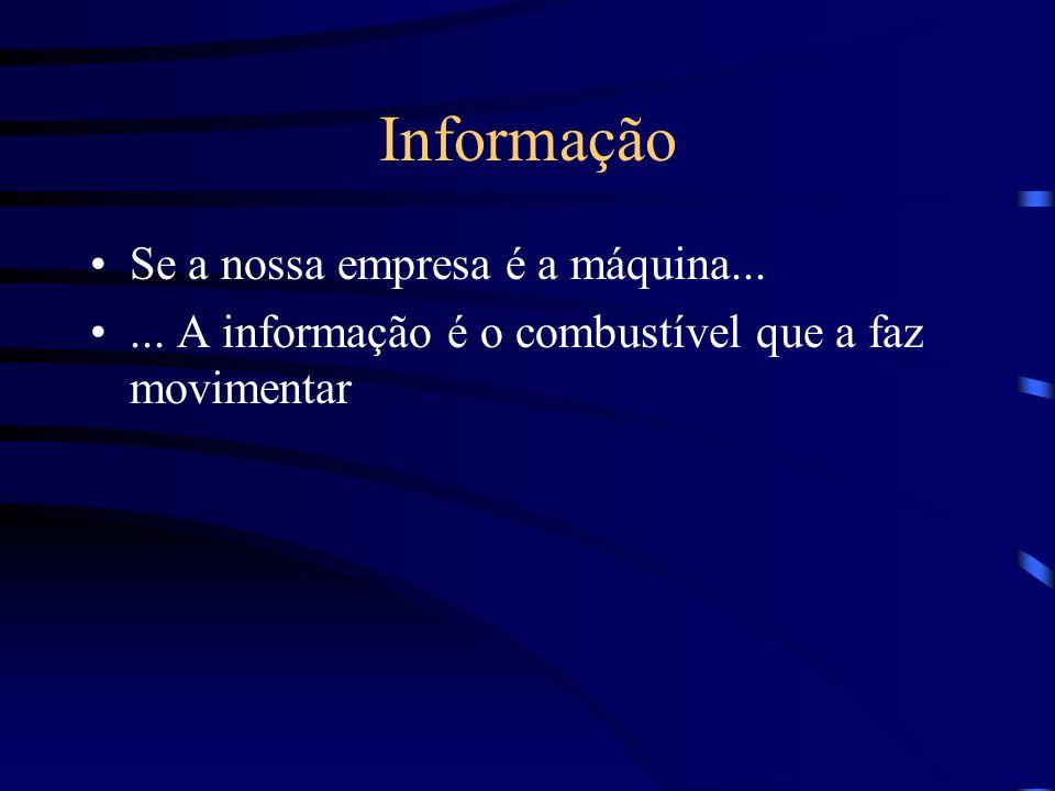 Informação Se a nossa empresa é a máquina...... A informação é o combustível que a faz movimentar