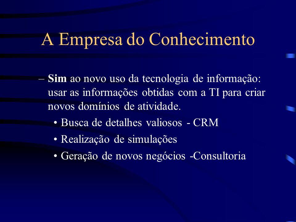 A Empresa do Conhecimento –Sim ao novo uso da tecnologia de informação: usar as informações obtidas com a TI para criar novos domínios de atividade. B