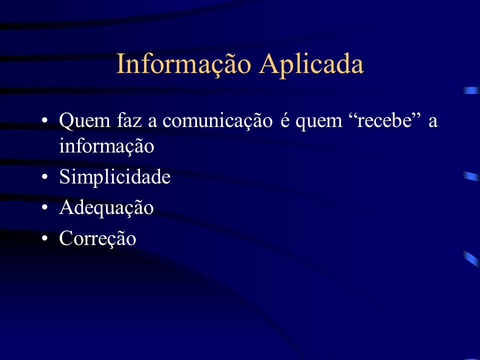 Informação Aplicada Quem faz a comunicação é quem recebe a informação Simplicidade Adequação Correção
