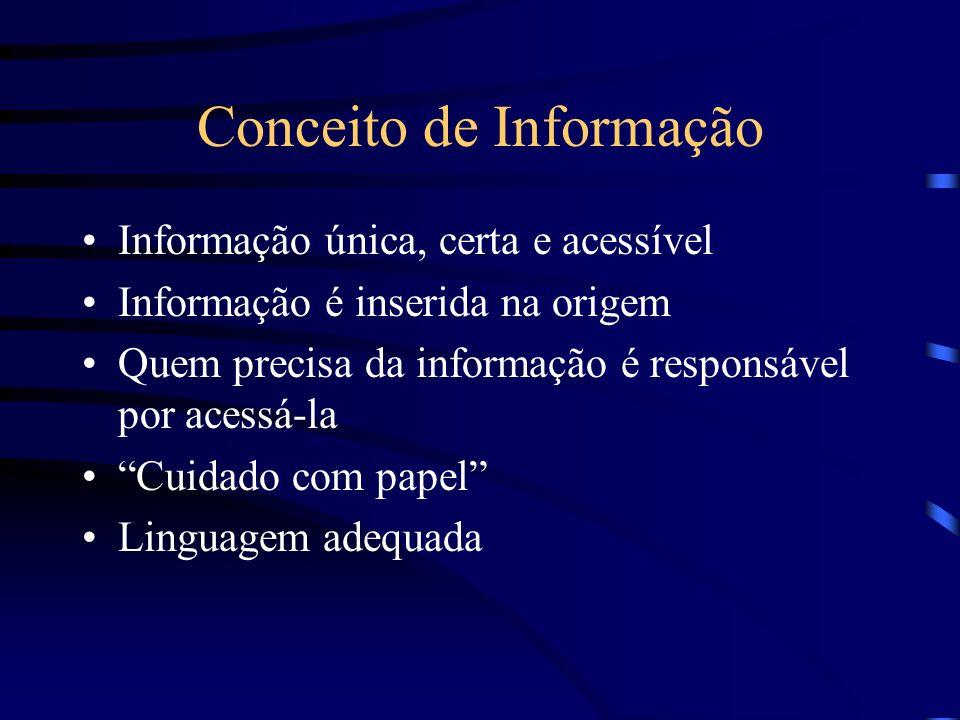 Conceito de Informação Informação única, certa e acessível Informação é inserida na origem Quem precisa da informação é responsável por acessá-la Cuid