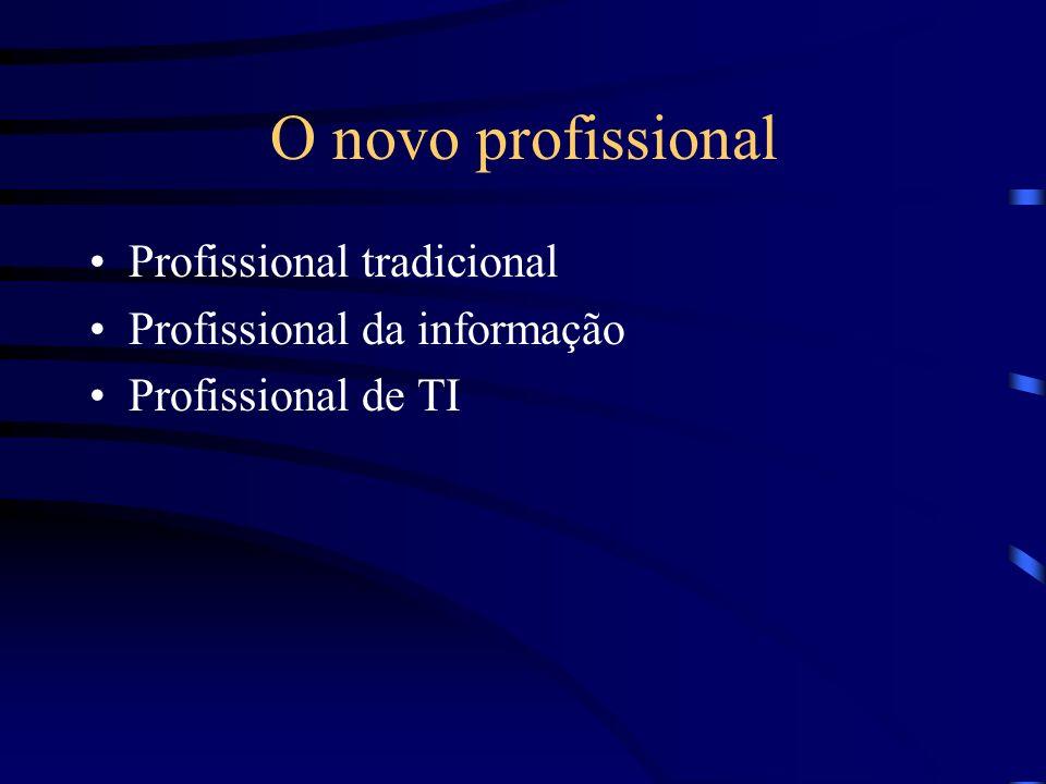 O novo profissional Profissional tradicional Profissional da informação Profissional de TI