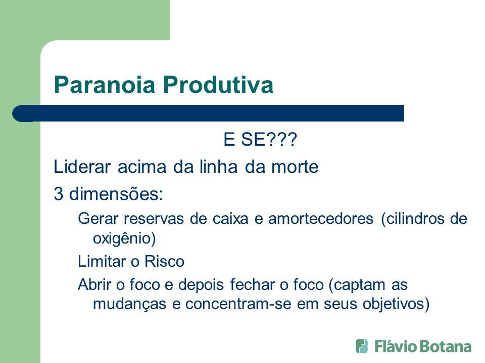 Paranoia Produtiva E SE??? Liderar acima da linha da morte 3 dimensões: Gerar reservas de caixa e amortecedores (cilindros de oxigênio) Limitar o Risc