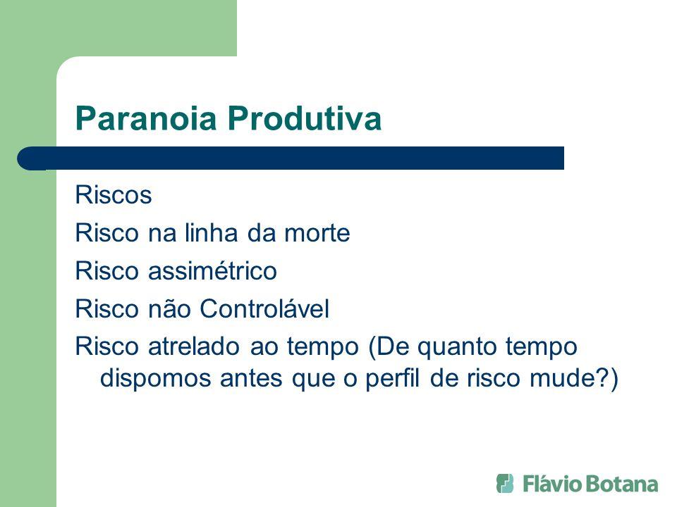 Paranoia Produtiva Riscos Risco na linha da morte Risco assimétrico Risco não Controlável Risco atrelado ao tempo (De quanto tempo dispomos antes que