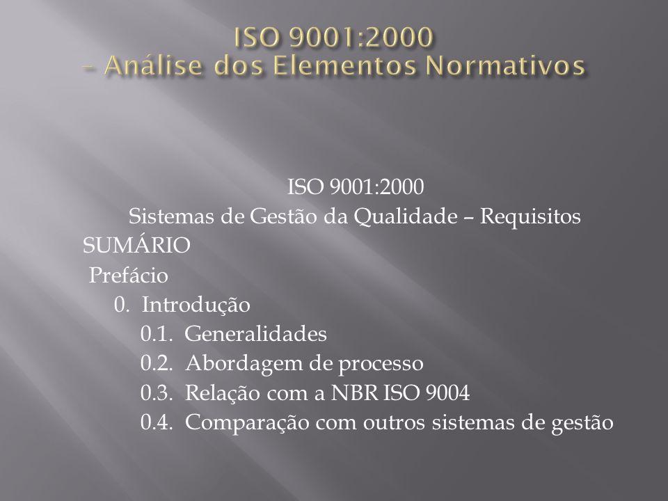 ISO 9001:2000 Sistemas de Gestão da Qualidade – Requisitos SUMÁRIO Prefácio 0. Introdução 0.1. Generalidades 0.2. Abordagem de processo 0.3. Relação c