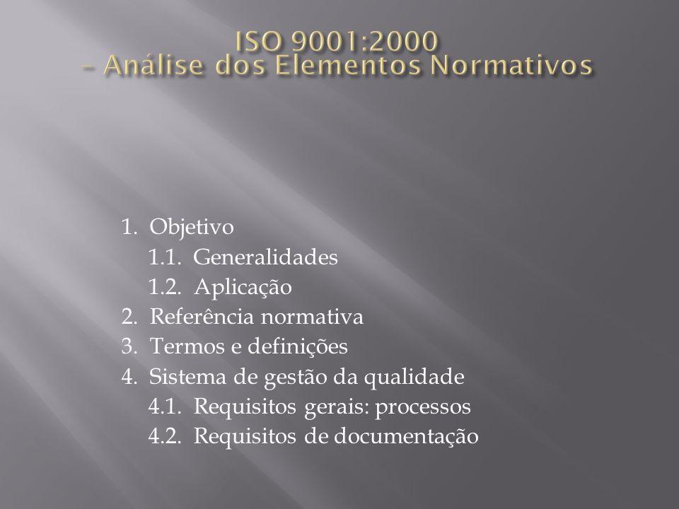1. Objetivo 1.1. Generalidades 1.2. Aplicação 2. Referência normativa 3. Termos e definições 4. Sistema de gestão da qualidade 4.1. Requisitos gerais: