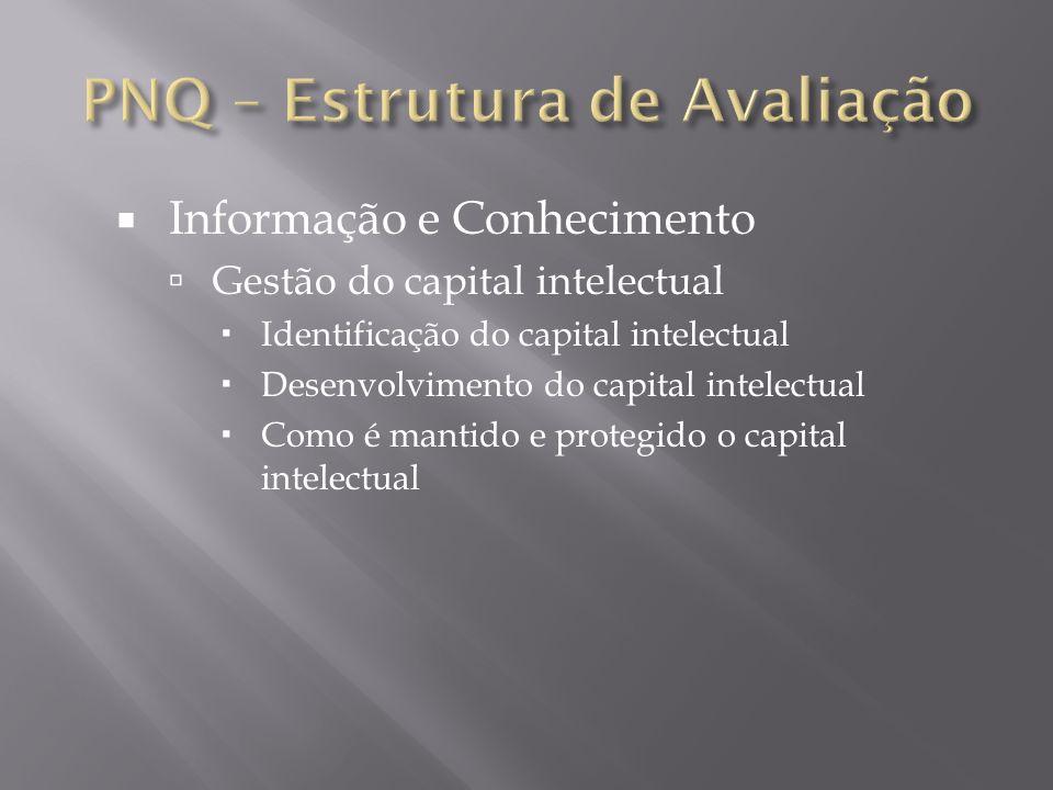 Informação e Conhecimento Gestão do capital intelectual Identificação do capital intelectual Desenvolvimento do capital intelectual Como é mantido e p