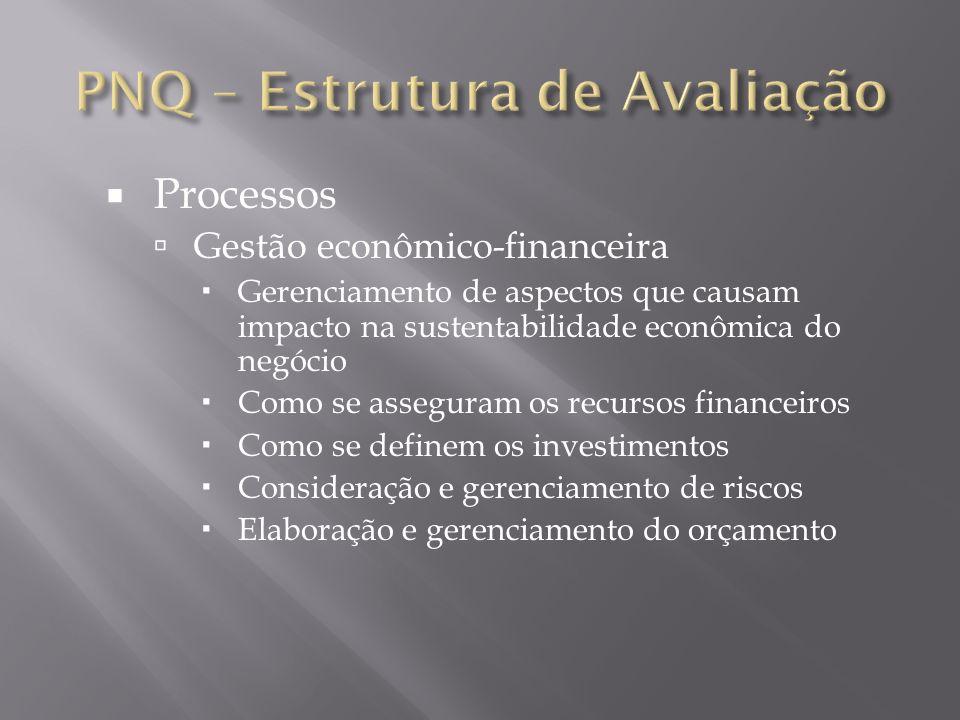 Processos Gestão econômico-financeira Gerenciamento de aspectos que causam impacto na sustentabilidade econômica do negócio Como se asseguram os recur