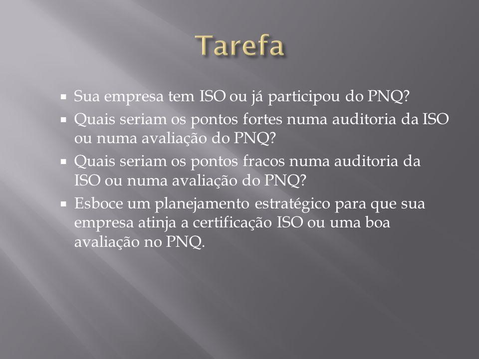 Sua empresa tem ISO ou já participou do PNQ? Quais seriam os pontos fortes numa auditoria da ISO ou numa avaliação do PNQ? Quais seriam os pontos frac
