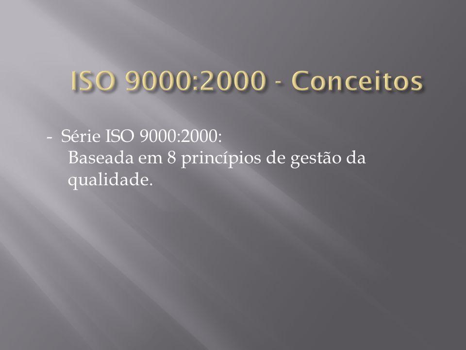 - Série ISO 9000:2000: Baseada em 8 princípios de gestão da qualidade.