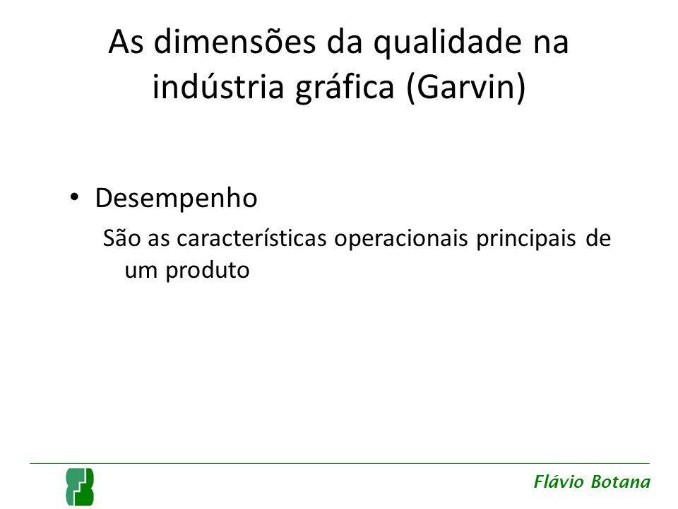 As dimensões da qualidade na indústria gráfica (Garvin) Desempenho São as características operacionais principais de um produto Flávio Botana