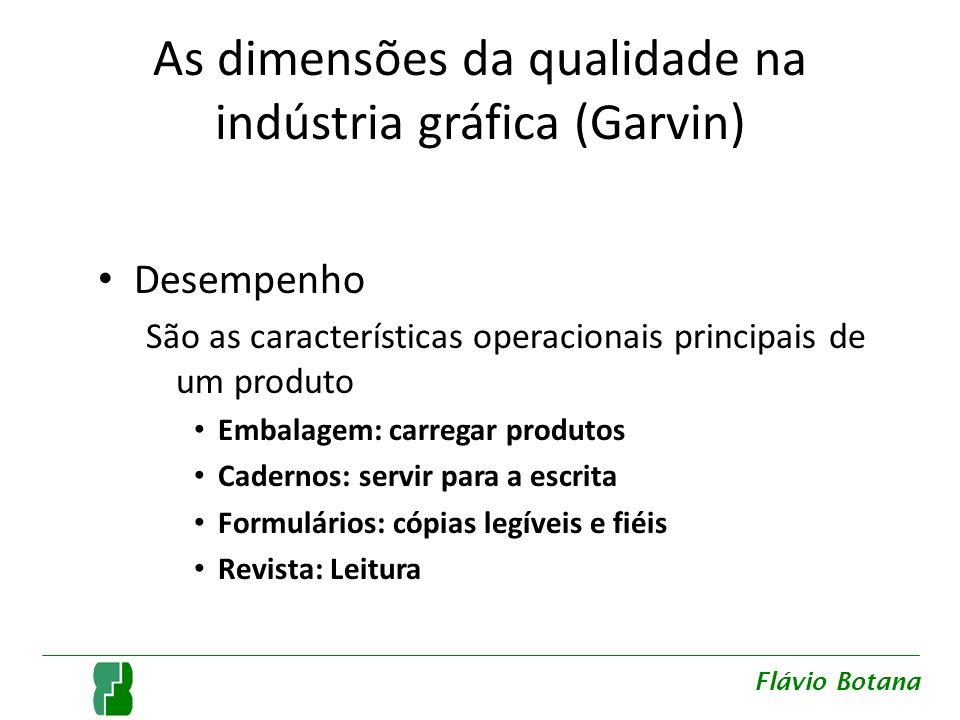 As dimensões da qualidade na indústria gráfica (Garvin) Desempenho São as características operacionais principais de um produto Embalagem: carregar pr