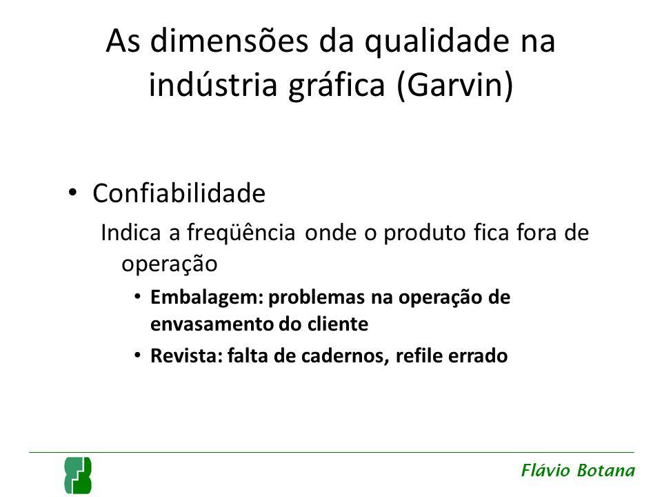 As dimensões da qualidade na indústria gráfica (Garvin) Confiabilidade Indica a freqüência onde o produto fica fora de operação Embalagem: problemas n