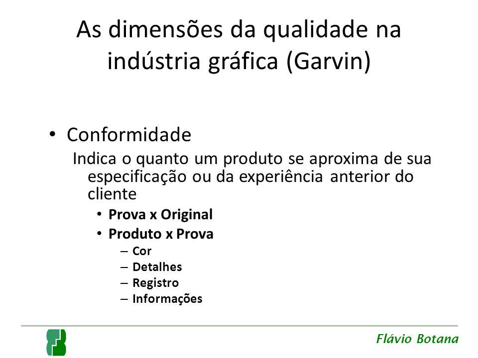 As dimensões da qualidade na indústria gráfica (Garvin) Conformidade Indica o quanto um produto se aproxima de sua especificação ou da experiência ant
