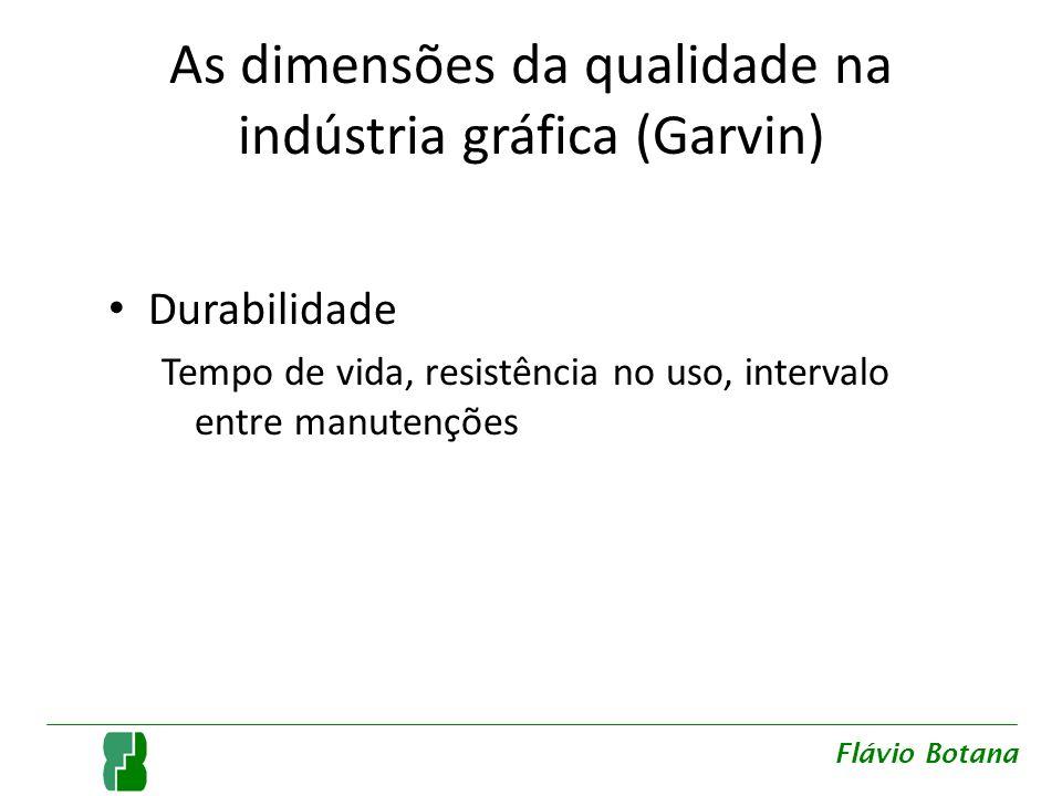 As dimensões da qualidade na indústria gráfica (Garvin) Durabilidade Tempo de vida, resistência no uso, intervalo entre manutenções Flávio Botana