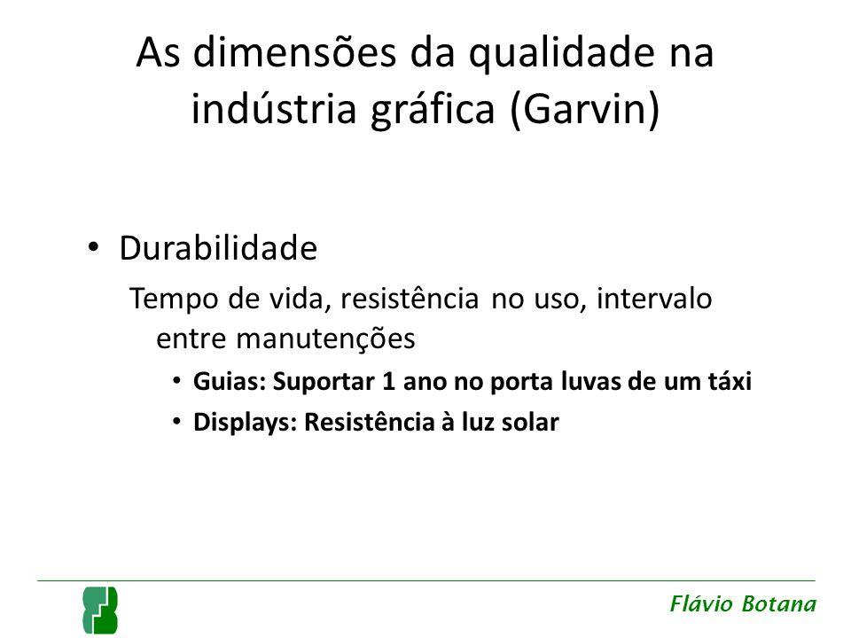 As dimensões da qualidade na indústria gráfica (Garvin) Durabilidade Tempo de vida, resistência no uso, intervalo entre manutenções Guias: Suportar 1