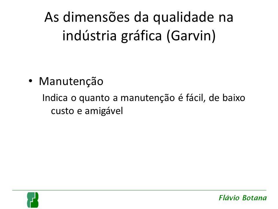 As dimensões da qualidade na indústria gráfica (Garvin) Manutenção Indica o quanto a manutenção é fácil, de baixo custo e amigável Flávio Botana