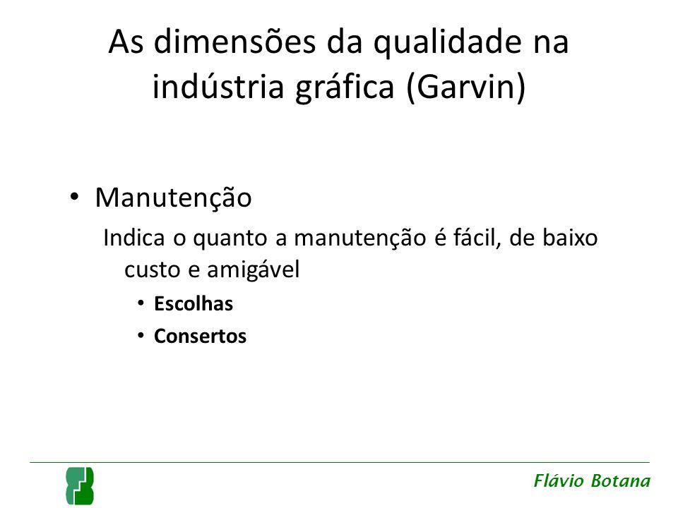 As dimensões da qualidade na indústria gráfica (Garvin) Manutenção Indica o quanto a manutenção é fácil, de baixo custo e amigável Escolhas Consertos