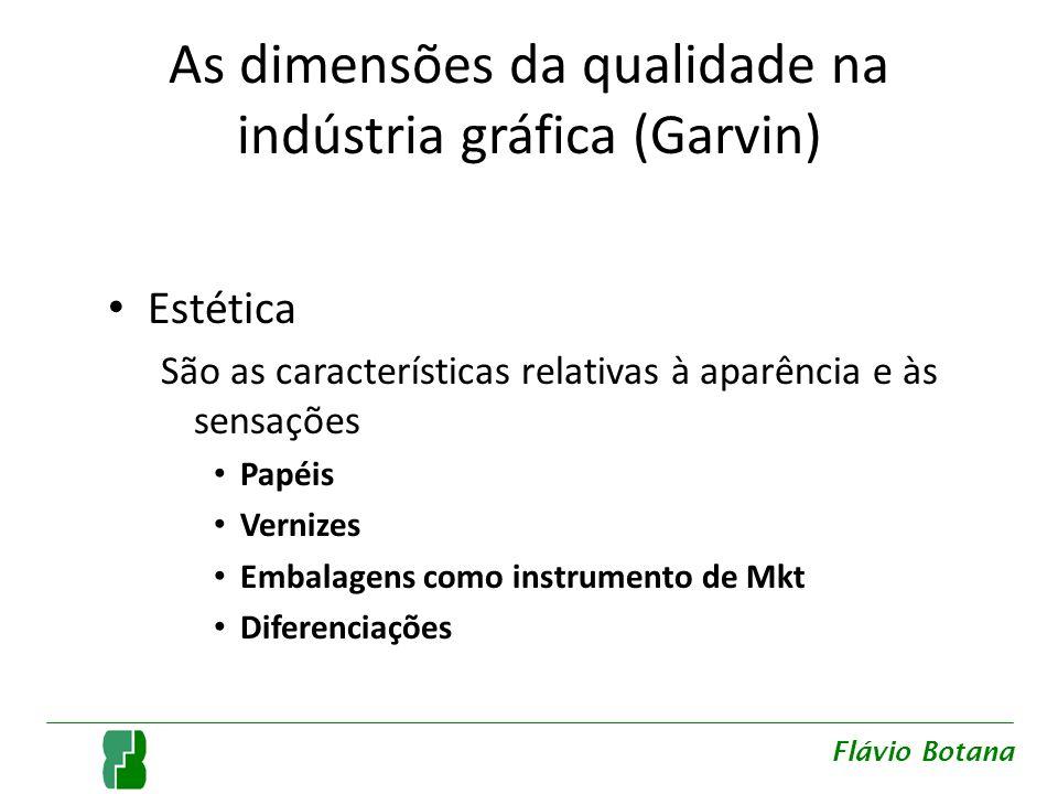 As dimensões da qualidade na indústria gráfica (Garvin) Estética São as características relativas à aparência e às sensações Papéis Vernizes Embalagen