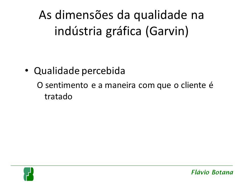 As dimensões da qualidade na indústria gráfica (Garvin) Qualidade percebida O sentimento e a maneira com que o cliente é tratado Flávio Botana