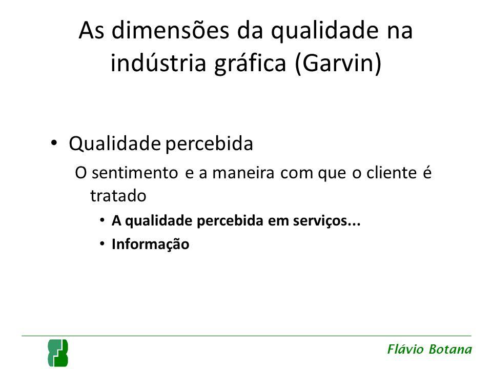 As dimensões da qualidade na indústria gráfica (Garvin) Qualidade percebida O sentimento e a maneira com que o cliente é tratado A qualidade percebida