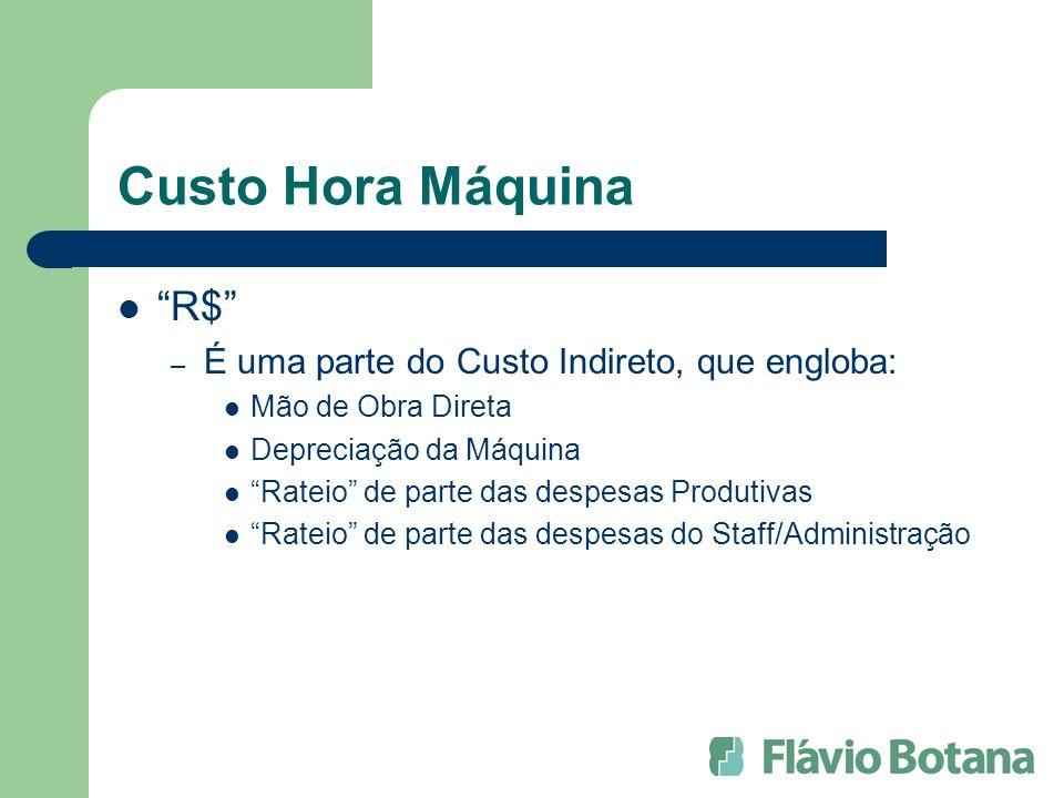 Custo Hora Máquina R$ – É uma parte do Custo Indireto, que engloba: Mão de Obra Direta Depreciação da Máquina Rateio de parte das despesas Produtivas Rateio de parte das despesas do Staff/Administração