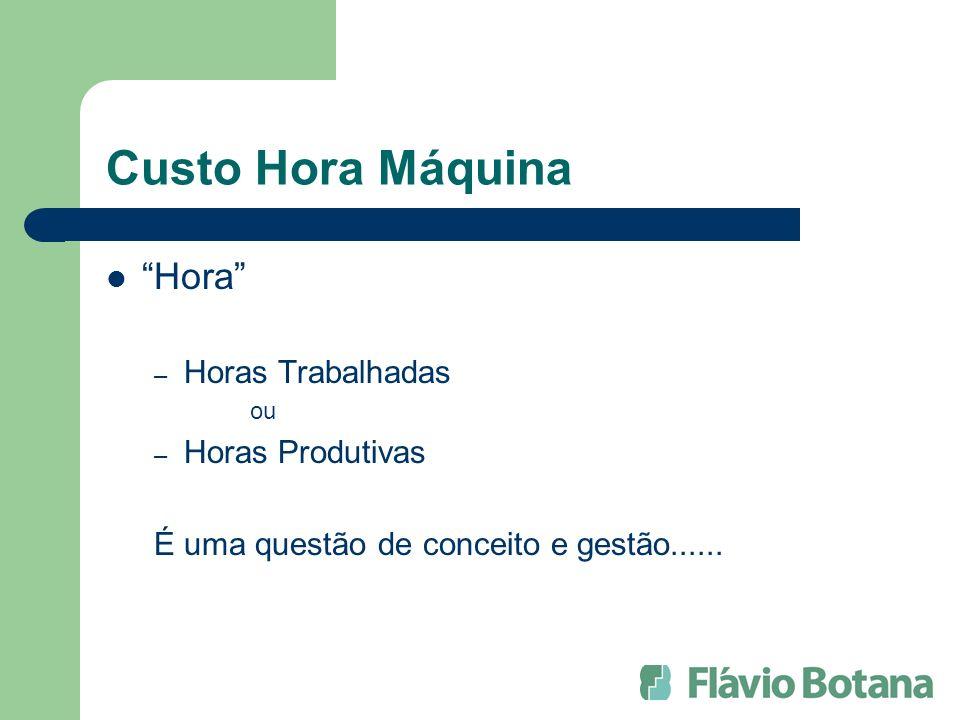 Custo Hora Máquina Hora – Horas Trabalhadas ou – Horas Produtivas É uma questão de conceito e gestão......
