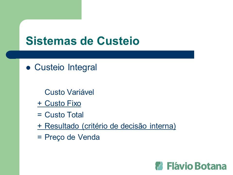 Sistemas de Custeio Custeio Integral Custo Variável +Custo Fixo =Custo Total +Resultado (critério de decisão interna) =Preço de Venda