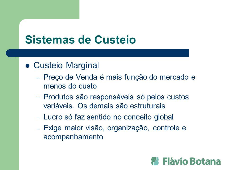 Sistemas de Custeio Custeio Marginal – Preço de Venda é mais função do mercado e menos do custo – Produtos são responsáveis só pelos custos variáveis.