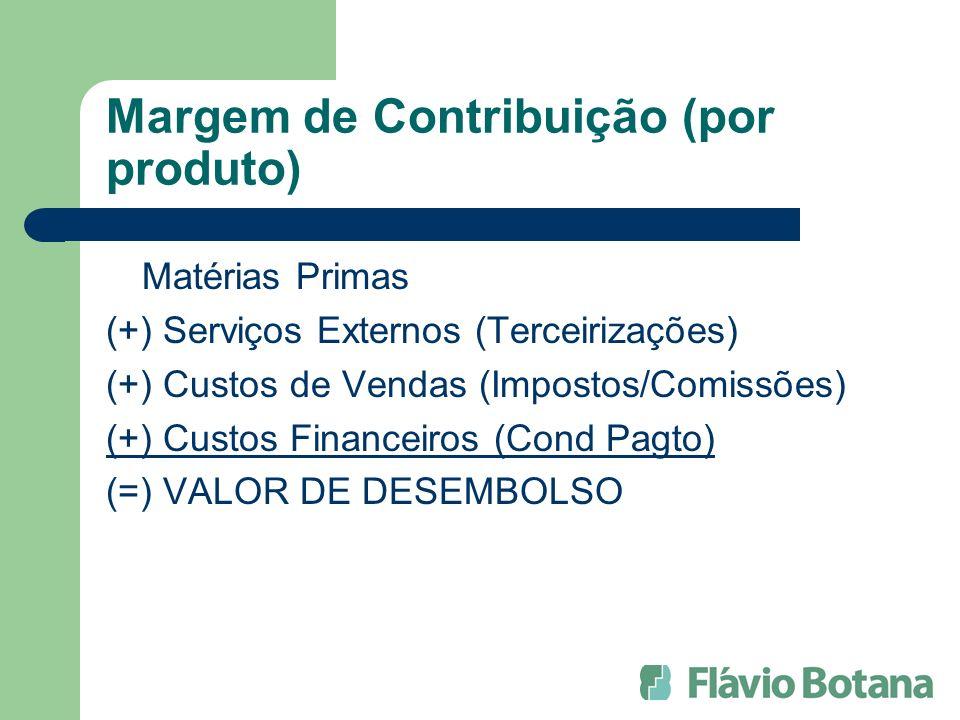 Margem de Contribuição (por produto) Matérias Primas (+) Serviços Externos (Terceirizações) (+) Custos de Vendas (Impostos/Comissões) (+) Custos Financeiros (Cond Pagto) (=) VALOR DE DESEMBOLSO