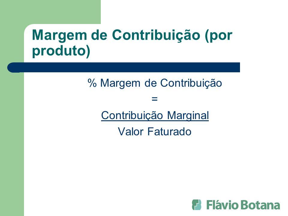 Margem de Contribuição (por produto) % Margem de Contribuição = Contribuição Marginal Valor Faturado