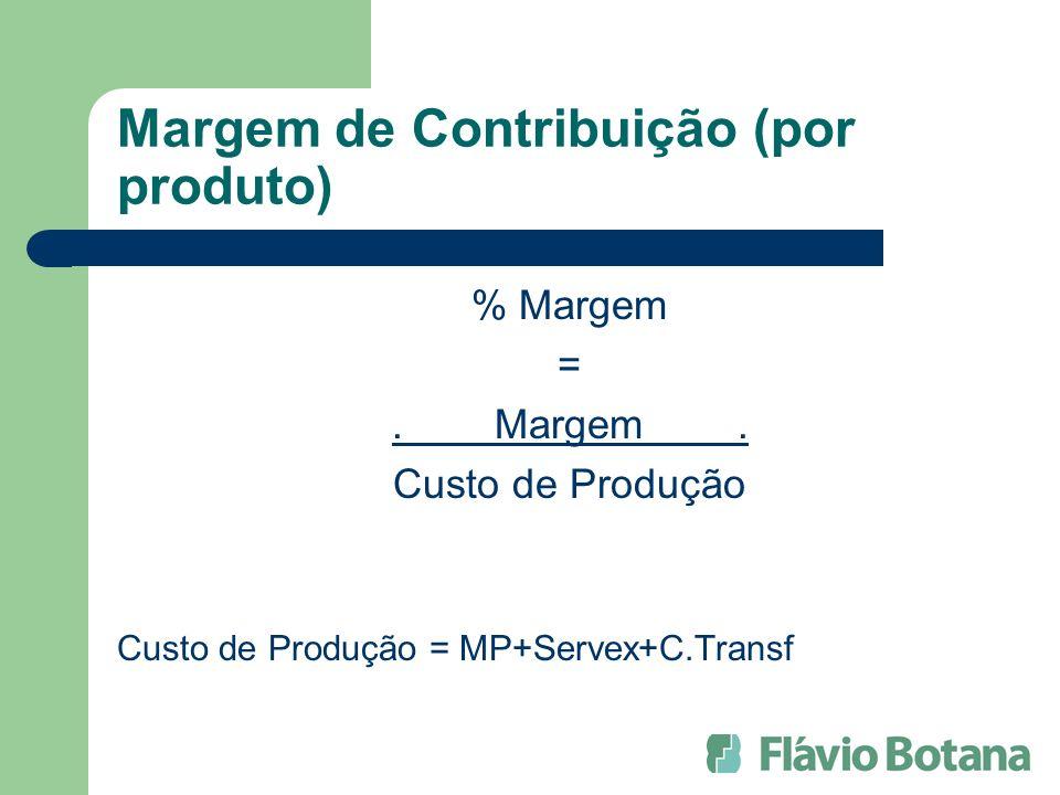 Margem de Contribuição (por produto) % Margem =.Margem.