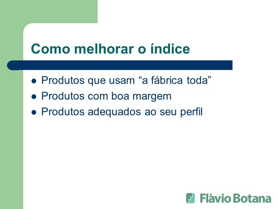 Como melhorar o índice Produtos que usam a fábrica toda Produtos com boa margem Produtos adequados ao seu perfil