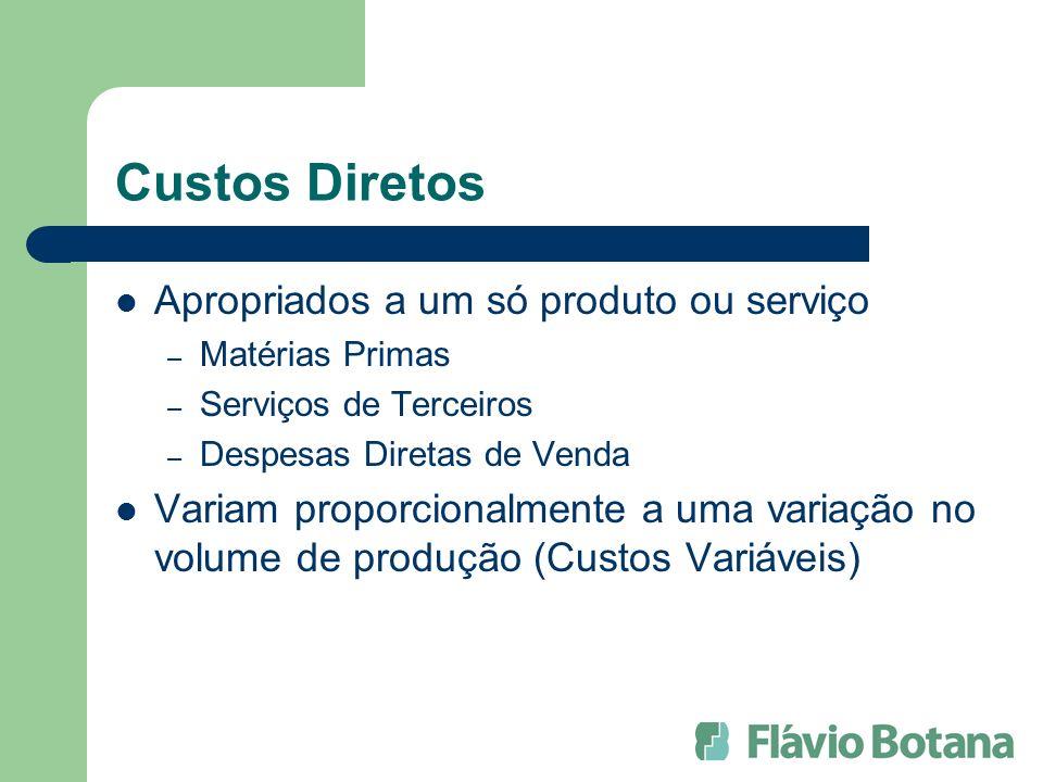 Custos Diretos Apropriados a um só produto ou serviço – Matérias Primas – Serviços de Terceiros – Despesas Diretas de Venda Variam proporcionalmente a uma variação no volume de produção (Custos Variáveis)