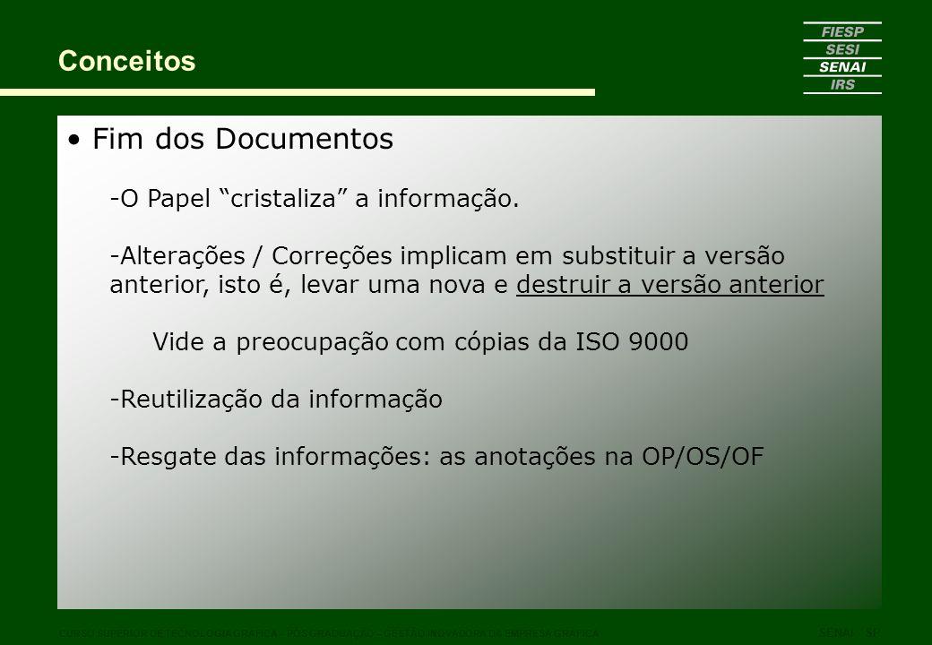 Fim dos Documentos -O Papel cristaliza a informação. -Alterações / Correções implicam em substituir a versão anterior, isto é, levar uma nova e destru