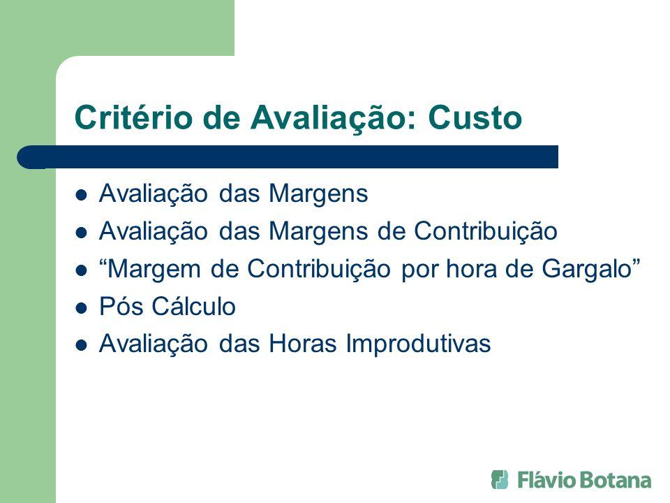 Critério de Avaliação: Custo Avaliação das Margens Avaliação das Margens de Contribuição Margem de Contribuição por hora de Gargalo Pós Cálculo Avalia