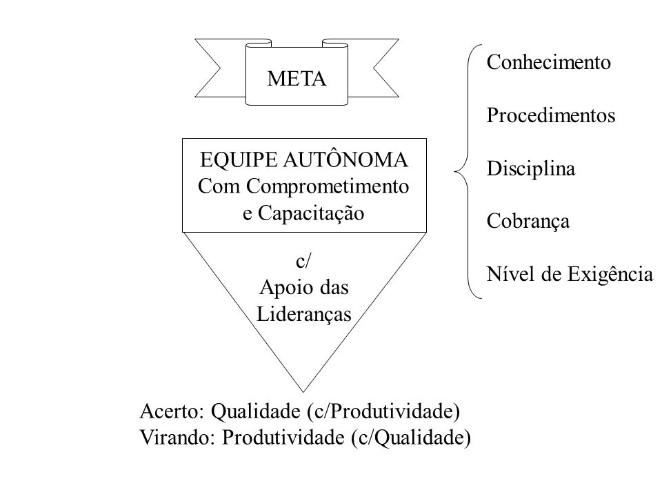 META EQUIPE AUTÔNOMA Com Comprometimento e Capacitação c/ Apoio das Lideranças Conhecimento Procedimentos Disciplina Cobrança Nível de Exigência Acert