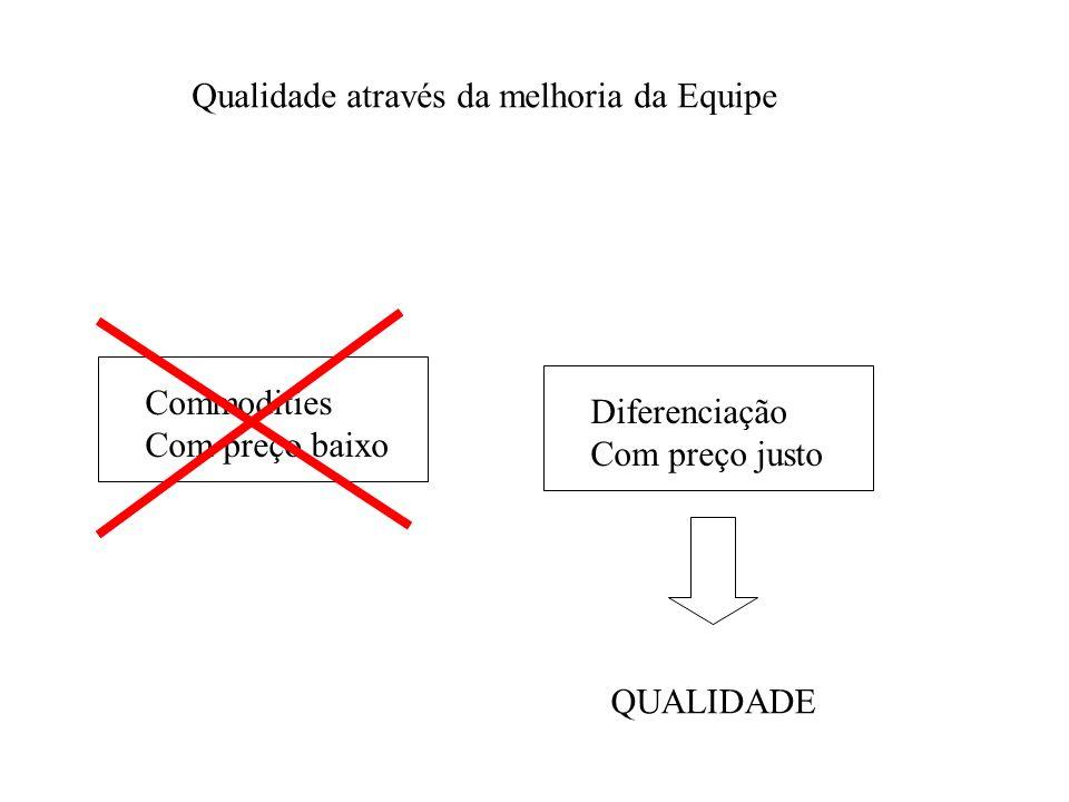 Commodities Com preço baixo Diferenciação Com preço justo QUALIDADE Qualidade através da melhoria da Equipe
