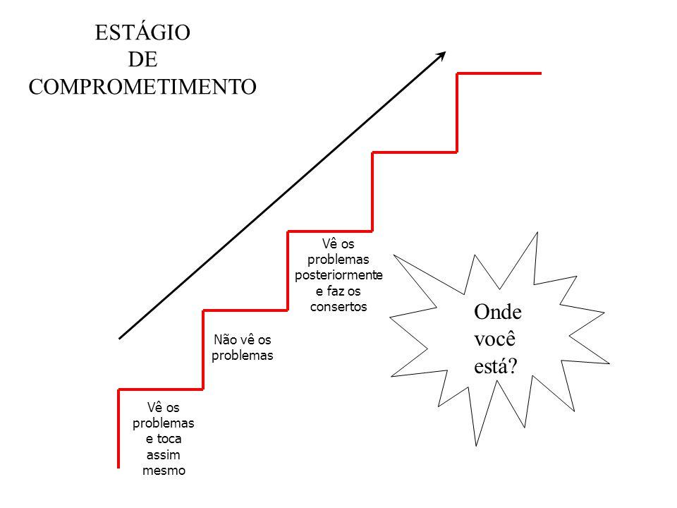 Vê os problemas e toca assim mesmo Não vê os problemas Vê os problemas posteriormente e faz os consertos ESTÁGIO DE COMPROMETIMENTO Onde você está?