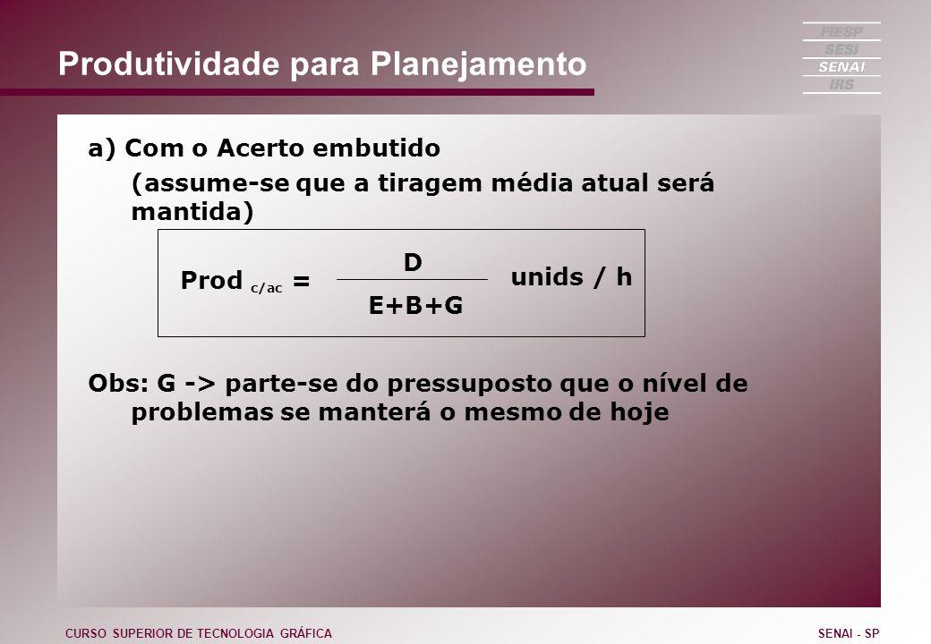 Produtividade para Planejamento a) Com o Acerto embutido (assume-se que a tiragem média atual será mantida) Prod c/ac = Obs: G -> parte-se do pressupo