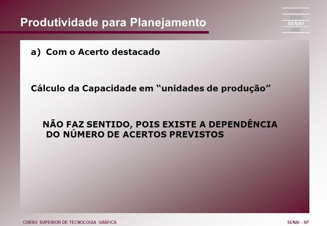 Produtividade para Planejamento a)Com o Acerto destacado Cálculo da Capacidade em unidades de produção NÃO FAZ SENTIDO, POIS EXISTE A DEPENDÊNCIA DO N