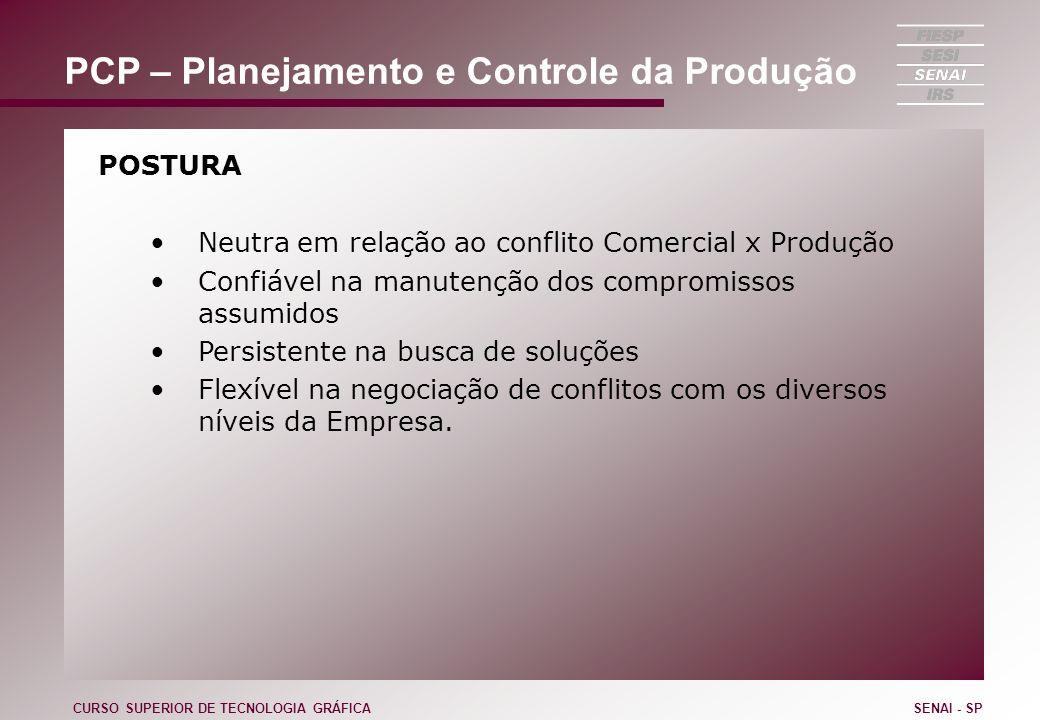PCP – Planejamento e Controle da Produção POSTURA Neutra em relação ao conflito Comercial x Produção Confiável na manutenção dos compromissos assumido