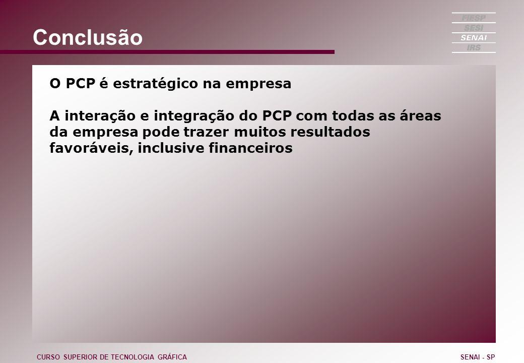 Conclusão O PCP é estratégico na empresa A interação e integração do PCP com todas as áreas da empresa pode trazer muitos resultados favoráveis, inclu