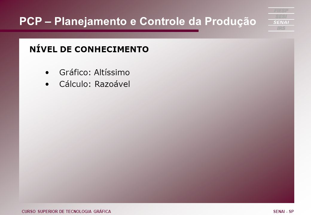 PCP – Planejamento e Controle da Produção NÍVEL DE CONHECIMENTO Gráfico: Altíssimo Cálculo: Razoável CURSO SUPERIOR DE TECNOLOGIA GRÁFICASENAI - SP