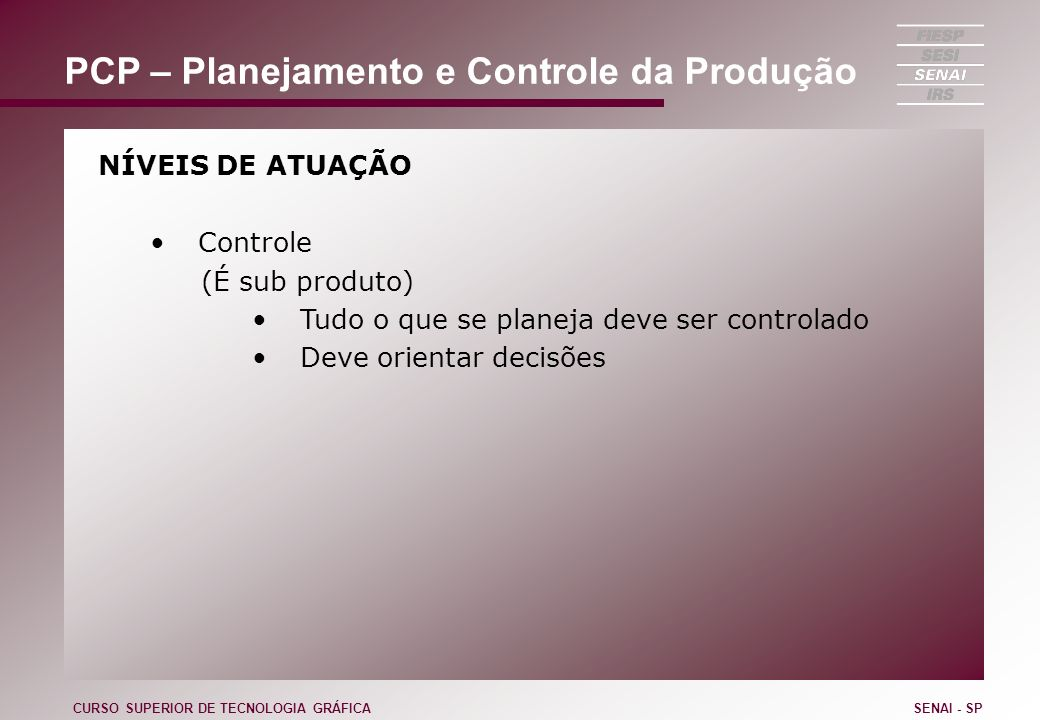 PCP – Planejamento e Controle da Produção NÍVEIS DE ATUAÇÃO Controle (É sub produto) Tudo o que se planeja deve ser controlado Deve orientar decisões